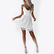 저렴한 -여성용 홀리데이 클럽 베이직 슬림 A 라인 드레스 - 솔리드, 레이스 하이 웨스트 미니 V 넥 스트랩 화이트 / 뒷면이 없는 스타일 / 섹시