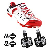 SIDEBIKE Adults' Cycling Shoes With Pedals & Cleats Mountain Bike Shoes Nylon Cushioning Cycling Red and White Men's Cycling Shoes / Synthetic Microfiber PU
