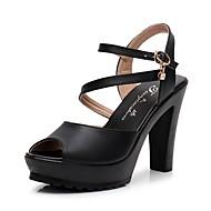 Mulheres Sapatos Microfibra Verão Tira no Tornozelo Sandálias Salto Robusto Peep Toe Pedrarias / Presilha Branco / Preto / Prateado