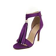 cheap Women's Sandals-Women's Shoes Velvet Summer Gladiator Novelty Sandals Stiletto Heel Open Toe Rhinestone Tassel for Office & Career Party & Evening Black