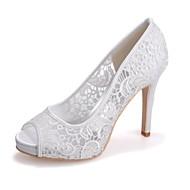baratos Sapatos Femininos-Mulheres Sapatos Tricô Primavera / Verão Plataforma Básica Sapatos De Casamento Salto Agulha Peep Toe Rendado Preto / Rosa claro / Ivory