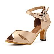 baratos Sapatilhas de Dança-Mulheres Sapatos de Dança Latina Gliter / Courino Salto Recortes Salto Personalizado Personalizável Sapatos de Dança Dourado