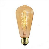 baratos Incandescente-1pç 40 W E26 / E27 ST64 Branco Quente 2300 k Retro / Decorativa Incandescente Vintage Edison Light Bulb 220-240 V