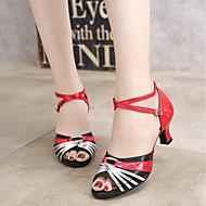 baratos Sapatilhas de Dança-Mulheres Sapatos de Dança Latina Glitter / Paetês / Sintético Sandália / Salto Adorno / Recortes / Bloco de Cor Salto Cubano / Couro