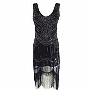 Store Gatsby Vintage 1920'erne Kostume Dame Festkostume Flapper Dress Cocktail Kjole Sort Vintage Cosplay polyester Uden ærmer Kolde skulder Knælang Halloween Kostumer / Pailletter