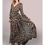 Dame Fest Basale Bomuld Skede Kjole - Leopard Maxi V-hals