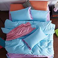 billige Solide dynetrekk-Sengesett Ensfarget 4 deler Polyester/Bomull Garn Bleket Polyester/Bomull 1stk Dynetrekk 2stk Trekk 1stk Flatt Laken