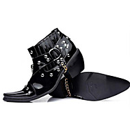 cheap Men's Boots-Men's Combat Boots Patent Leather Fall / Winter Boots Booties / Ankle Boots Black