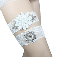 cheap Wedding Garters-Spandex Lace Wedding Garter with Lace Sashes/ Ribbons Floral Paillette Pocket Garters Wedding
