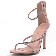 Mujer Zapatos Cuero Nobuck Verano Pump Básico Sandalias Tacón Cuadrado Punta abierta Botines / Hasta el Tobillo Negro / Gris / Almendra Achat Offre Magasin De Sortie OVa3pH1