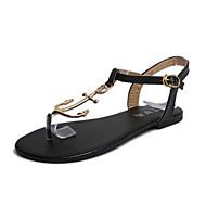 Žene Cipele Guma Ljeto Udobne cipele Papuče i japanke Hodanje Ravna potpetica Biser Crn / Crvena / Plava