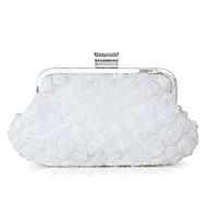 baratos Clutches & Bolsas de Noite-Mulheres Bolsas Seda Bolsa de Mão Miçangas / Detalhes em Cristal / Detalhes em Pérolas Branco / Preto