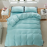 cheap Duvet Covers-Duvet Cover Sets Solid 4 Piece Poly/Cotton Yarn Dyed Poly/Cotton 1pc Duvet Cover 2pcs Shams 1pc Flat Sheet