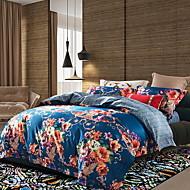 billige Blomstrete dynetrekk-Sengesett Blomstret Polyester / Bomull Mønstret 4 deler