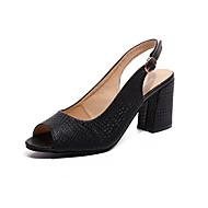 cheap Women's Heels-Women's Shoes PU Summer Comfort Heels Stiletto Heel Pointed Toe Rivet for Dress White / Black