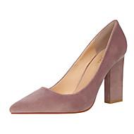 זול נעלי נשים-בגדי ריקוד נשים נעליים קטיפה אביב קיץ בלרינה בייסיק נוחות עקבים חסום את העקב בוהן סגורה בוהן מחודדת ל משרד קריירה מסיבה וערב אדום ירוק