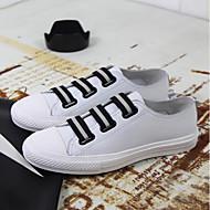 baratos Sapatos Masculinos-Homens Pele Primavera / Verão Conforto Tênis Estampa Colorida Branco / Preto