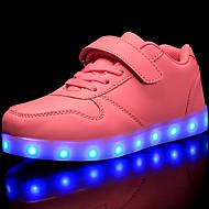 tanie Obuwie dziewczęce-Dla chłopców / Dla dziewczynek Obuwie PU Jesień Wygoda / Świecące buty Adidasy Sznurowane / Haczyk i pętelka / LED na Czerwony / Niebieski / Różowy
