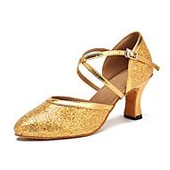 billige Moderne sko-Dame Moderne sko Glimtende Glitter Sandaler / Høye hæler Kustomisert hæl Kan spesialtilpasses Dansesko Gull / Profesjonell
