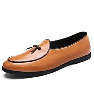 للرجال أحذية القيادة Leather نابا / جلد ربيع / خريف مريح / بريطاني المتسكعون وزلة الإضافات المشي أسود / أصفر / كوفي