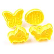 billige Bakeredskap-Bakeware verktøy Plastikker baking Tool / 3D / Bursdag Til Småkake / Sjokolade / Til Kake Kakekuttere 4stk