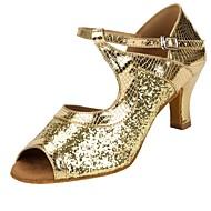 baratos Sapatilhas de Dança-Mulheres Sapatos de Dança Latina Glitter / Couro Sintético / Tule Sandália / Salto Recortes Salto Personalizado Personalizável Sapatos de