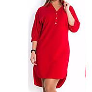 Žene Veći konfekcijski brojevi Osnovni Pamuk Slim Majica Haljina Jednobojni V izrez / Kragna košulje Iznad koljena Crvena