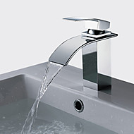 cheap Discount Faucets-Contemporary Vessel Waterfall Brass Valve Single Handle One Hole Chrome, Bathtub Faucet Bathroom Sink Faucet Kitchen faucet