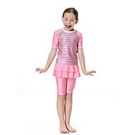 เด็ก เด็กผู้หญิง โบโฮ Sport ลายบล็อคสี รูปแบบคลาสสิก แขนสั้น เส้นใยสังเคราะห์ / ไนลอน / สแปนเด็กซ์ ชุดว่ายน้ำ สีแดงชมพู