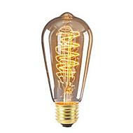 billige Glødelampe-1pc 40 W 360 lm E26 / E27 ST64 Edison Bulb LED perler SMD Mulighet for demping / Dekorativ Varm hvit 220-240 V