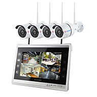 cheap Wireless CCTV System-YanSe Security System Wireless NVR Kit 12.5 inch Screen 4pcs IP Camera 960P Waterproof IR Night Vision
