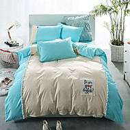 tanie Solid Duvet Okładki-Zestawy kołdra okładka Jendolity kolor 4 elementy Poly / Cotton 100% bawełna Reactive Drukuj Poly / Cotton 100% bawełna 1szt kołdrę 2szt