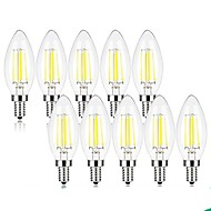 cheap LED Bulbs-10pcs 4W 360 lm E14 LED Filament Bulbs C35 4 leds COB Decorative Warm White Cold White 220-240V