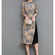 女性用 アジアン・エスニック シース ドレス ソリッド 膝上