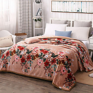 cheap Blankets & Throws-Coral fleece, Quilted Floral Cotton/Polyester Polyester Blankets