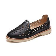 baratos Sapatos Femininos-Mulheres Couro Ecológico Conforto Rasos Sem Salto Dedo Apontado Vazados Branco / Preto / Bege