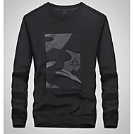 Herre Plusstørrelser Langærmet Løstsiddende Rund hals Lang Sweatshirt - Geometrisk, Trykt mønster
