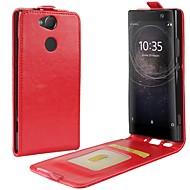 billiga Mobil cases & Skärmskydd-fodral Till Sony Xperia XA2 Ultra Xperia XZ2 Korthållare Lucka Fodral Ensfärgat Hårt PU läder för Xperia XA2 Xperia XA2 Ultra Xperia XZ2