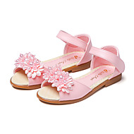 お買い得  フラワーガールシューズ-女の子 靴 レザーレット 夏 フラワーガールシューズ サンダル フラワー / 面ファスナー のために ホワイト / ピンク