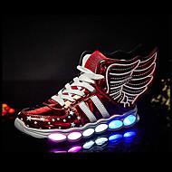 זול נעלי תינוקות-בנות נעליים מיקרופייבר PU סינתטי / PU סתיו חורף נעליים זוהרות / נוחות נעלי אתלטיקה ריצה הדפס חיות / LED / מפרק מפוצל ל פעוטות אתלטי /