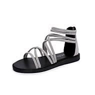 baratos Sapatos Femininos-Mulheres Sapatos Couro Ecológico Primavera / Verão Conforto Sandálias Sem Salto Dedo Aberto Tira Trançada Preto / Cinzento Claro