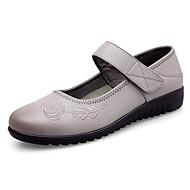 levne Dámské boty s plochou podrážkou-Dámské Boty Kůže Jaro Podzim Pohodlné Bez podpatku Rovná podrážka pro Ležérní Černá Šedá Hnědá