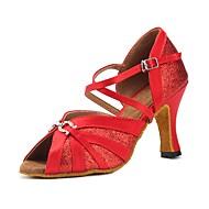 baratos Sapatilhas de Dança-Mulheres Sapatos de Dança Latina Cetim Sandália / Salto Recortes Salto Personalizado Personalizável Sapatos de Dança Vermelho