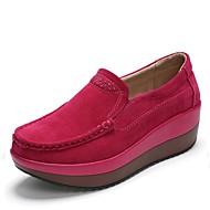 baratos Mocassins Femininos-Mulheres Sapatos Camurça Primavera / Outono Gladiador Mocassins e Slip-Ons Creepers Botas Cano Médio Preto / Vinho