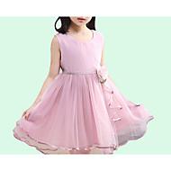 Djevojka je Poliester Jednobojni Dnevno Ljeto Bez rukávů Haljina Slatko Osnovni Obala Blushing Pink