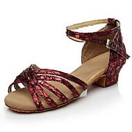 baratos Sapatilhas de Dança-Mulheres Sapatos de Dança Latina Glitter Sandália Gliter com Brilho Salto Personalizado Personalizável Sapatos de Dança Preto / Prata /