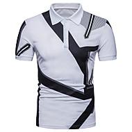 Homens Polo Moda de Rua Geométrica Estampa Colorida Preto & Branco