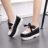 Χαμηλού Κόστους Γυναικείες Παντόφλες-Γυναικεία Παπούτσια Δερμάτινο Άνοιξη / Φθινόπωρο Ανατομικό Μοκασίνια & Ευκολόφορετα Creepers Μαύρο / Άσπρο