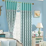 baratos Cortinas Transparentes-Sheer Curtains Shades Sala de Estar Floral Algodão / Poliéster Estampa Pigmentada