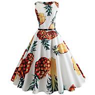 Dame I-byen-tøj Vintage Bomuld Tynd Swing Kjole - Frugt, Trykt mønster Knælang Ananas / Forår / Sommer